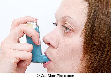mujer, aspirar, ella, asma, bomba