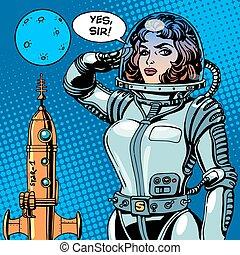 mujer, astronauta, capitán, de, un, nave espacial, ciencia...