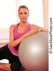 mujer, ataque, joven, ejercicio, condición física, ropa de ...