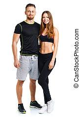 mujer, atlético, pareja, después, -, wh, ejercicio salud, hombre