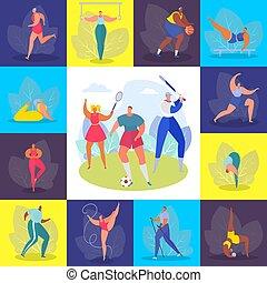 mujer, atleta, carácter, feliz, pasatiempo, gente, ...