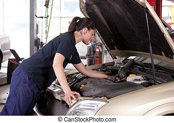 mujer, atractivo, mecánico