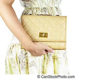 mujer, bags., lujo
