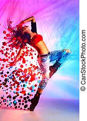 mujer, bailarín, joven