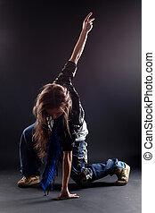 mujer, bailarín, negro, moderno, contra