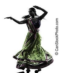 mujer, bailarín, silueta, indio, bailando