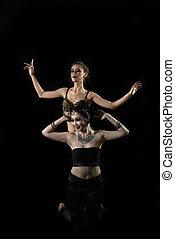 mujer, baile, actuación, dos, vientre, asiático, atractivo