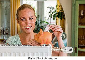 mujer, banco, cerdito, radiador