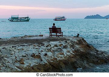 mujer, banco, sentado, solo