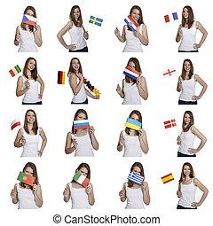 mujer, banderas, atractivo, exposiciones, europeo
