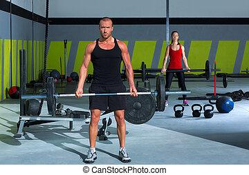 mujer, barra, peso, gimnasio, entrenamiento, elevación,...