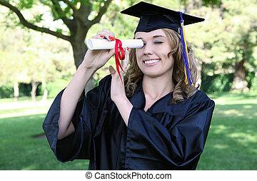 mujer, bastante, graduación