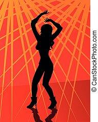 mujer, bastante, silueta, bailando, disco