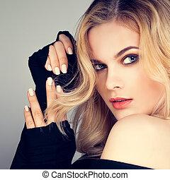 mujer, beauty., moda de pelo, bastante, rubio, modelo