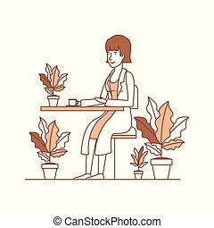 mujer, bebida, café, en el jardín