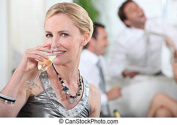 mujer, bebida, champaña