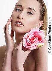 mujer, belleza, actuación, joven, flor, fresco, rubio, blanco