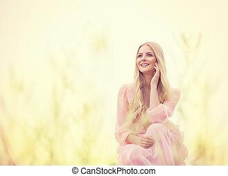 mujer, belleza, al aire libre, retrato, hermoso, modelo