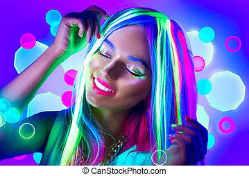 mujer, belleza, bailando, light., neón, joven, maquillaje, fluorescente, modelo, niña
