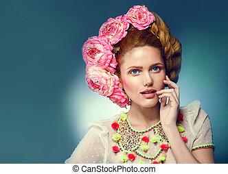 mujer, belleza, cara, moda, retrato, en, traje