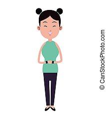 mujer, belleza, dos, bollo de pelo, asiático, pulseras,...