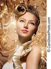 mujer, belleza, portrait., retro, diseñar, dama, lujo