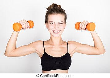 mujer, biceps., atlético, arriba, bombeo, concepto, dumbbells, condición física, activo, músculos