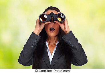mujer, binoculars., empresa / negocio