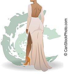 mujer, blanco, heels., resumen, verde, golpes, vestido, vestido, alto, ataque, visión trasera, naranja