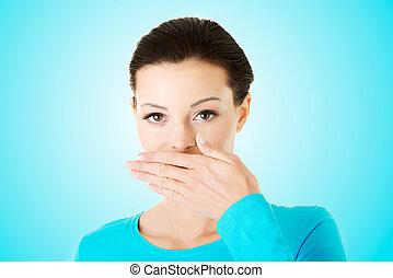 mujer, boca, cubierta