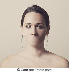 mujer, boca, sin