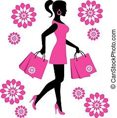 mujer, bolsas, compras