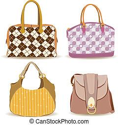 mujer, bolso, colección