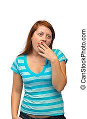 mujer, bostezando
