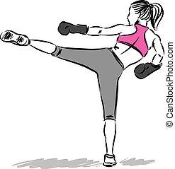 mujer, boxeo, patada, condición física