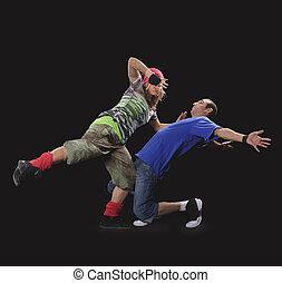 mujer, breakdance, bailando, pareja, joven, dark., hombre