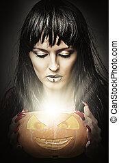 mujer, bruja, tenencia, calabaza