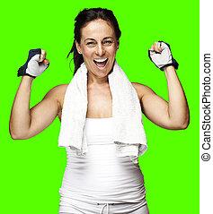 mujer, bueno, deportivo, el gesticular
