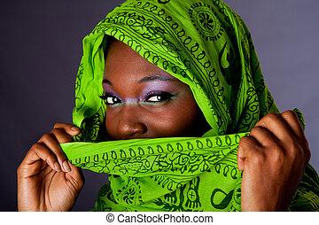 mujer, bufanda, africano