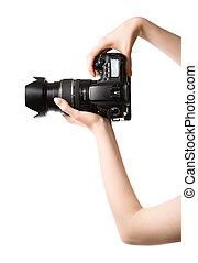 mujer, cámara fotográfica de la foto, manos de valor en cartera, profesional