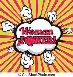mujer, cómicos, potencia