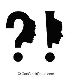 mujer, cabeza, con, signo de interrogación, vector, ilustración