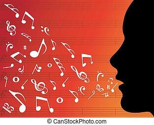 mujer, cabeza, silueta, con, música nota