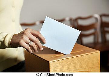 mujer, cabina, votación