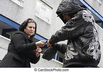 mujer, calle, hombre, asalto
