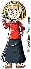 mujer, camisa, señalar con el dedo arriba, dedo, rojo