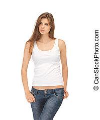 mujer, camiseta, calma, blanco, serio, blanco