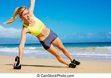 mujer, campana, atlético, entrenamiento, caldera, atractivo