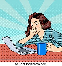 mujer, cansado, agotado, businesswoman., laptop., taponazo, vector, ilustración, art.