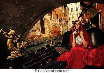 mujer, capa, gandola, equitación, beautifiul, rojo